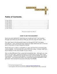 table of contents ottawa scrabble club