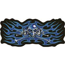 Classic Biker Leather 2 X 3 5 Blue Skeleton Heads With Flames Small Motorcycle Vest Patch