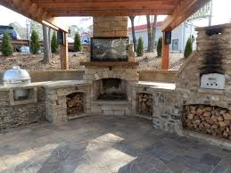 fireplace tv patio backyard designs