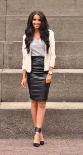 wear a black leather pencil skirt