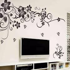 Classic Black Butterfly Flower Vine Wall Sticker European American Style Living Room Bedroom Tv Sofa Decal Wall Art Flower Wall Decals Wall Stickers Home Decor