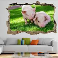 Cute Baby Pigs Animal Wall Art Stickers Mural Decal Kids Bedroom Farm Decor Ev1