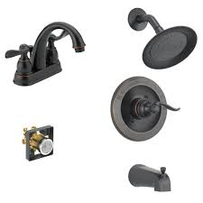 Delta Windemere 4 In Centerset 2 Handle Bathroom Faucet Bundle With Tub Shower Trim And Rough In In Oil Rubbed Bronze Fvs259602 Ob The Home Depot