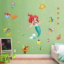 Amazon Com Decalmile The Little Mermaid Ariel Wall Stickers Underwater Princess Girls Wall Decals Baby Girls Bedroom Kids Room Wall Decor Kitchen Dining