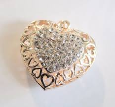 gold crystal heart pendant filigree