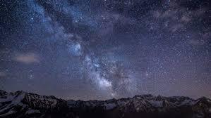 sky mountains landscape night snow
