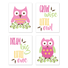 Woodland Forest Owls Wall Art Prints Room Decor For Baby Nursery And Kids By Sweet Jojo Designs Set Of 4 Pink Green And Yellow Birds Leaves Only 29 99