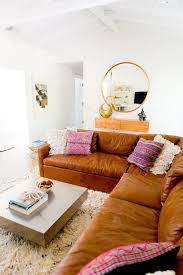 cognac leather sectional sofa