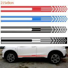 2pcs Vinyl Auto Decal 215x9cm Sport Door Side Car Sticker Long Stripe Racing Auto Parts And Vehicles Car Truck Graphics Decals Magenta Cl