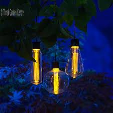noma string of 3 led solar bulb garden