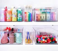 Craft And Coloring Supplies Organized With The Bins And Baby Bins Craft Room Organization Kids Craft Storage Cupboards Organization