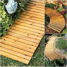 cedar slatted wooden straight pathway