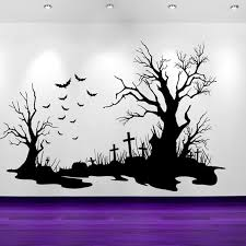 Halloween Wallpaper Bat And Tombstone Wall Decal Sticker Decals Vinyl Wallpaper Decor Gothic Ghost Architectural Pattern Lw368 Wall Stickers Aliexpress