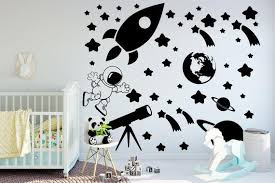 Outer Space Wall Decal Set Outer Space Decal Living Room Decor Bedroom Decor Space Wall Decals Wall Decals Bedroom Decor Living Room Decor