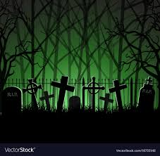 Graveyard Cemetery Tomb In Forest Royalty Free Vector Image
