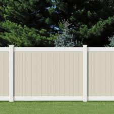 Veranda Pro Series 6 Ft H X 8 Ft W White Tan Vinyl Woodbridge Privacy Unassembled Fence Panel 144729 The Home Depot