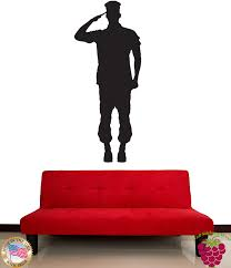 Amazon Com Wall Stickers Vinyl Decal Soldier Giving Salute Z1019 Home Kitchen