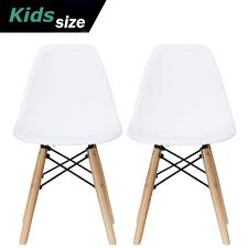 2xhome Set Of 2 White Toddler Kids Size Plastic Side Chair Black Seat Natural Wood Wooden Legs Eiffel Childrens Room Chairs No Arm Arms Armless Molded Plastic Seat Dowel