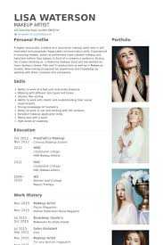 resume infographic makeup artist