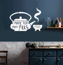 Vinyl Wall Decal Kitchen Quote Tea Teapot Cafe Teahouse Stickers Unique Gift Ig3607 Vinyl Wall Decals Kitchen Kitchen Wall Decals Wall Decals
