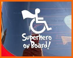 Amazon Com Superhero On Board Xs Small Vinyl Car Decal Hero Wheelchair Sticker Superfriends Special Needs Disability Handicap Window Decal Handmade