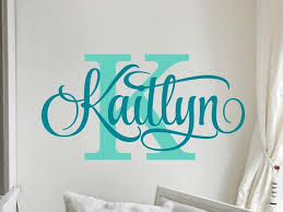 Personalized Name Wall Decal Girl Monogram Initial Swirly Name Etsy