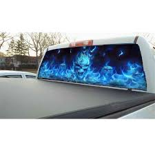 53 X14 Car Pickup Suv Rear Window Back Windshield Flaming Skull Decal Sticker Ebay