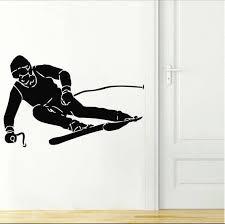 Skiing Wall Decal Ski Vinyl Stickers Ski Decal Skier Art Decal Etsy