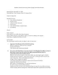 Academy School Community Center Design Committee Minutes Meeting Date:  November 12, 2019 Meeting Place: Town Campus, Room B, Cam