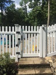 White Fence Around Pool Landwork Contractors