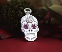 sterling silver sugar skull necklace