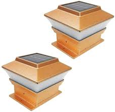 4 Pack Solar Powered Copper Outdoor Garden Deck Patio Fence Pathway Post Light For 4x4 Wood Posts Patio Deck Lights Amazon Com