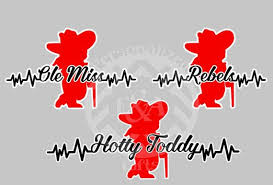 My Heart Beats For The Rebels Ole Miss Hotty Toddy Window Decal Mississippi College Sports Ole Miss Window Decals Hotty Toddy