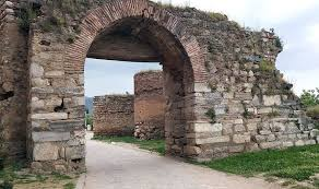 ancient brick gate portcullis road