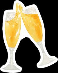 Watercolor Champagne Glasses Sticker