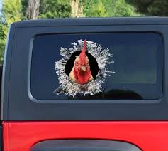 Rooster Window Sticker Car Sticker Rooster Car Decal Funny Etsy