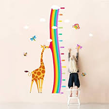 Amazon Com Decalmile Giraffe And Rainbow Height Chart Wall Stickers Kids Measure Growth Wall Decals Baby Nursery Childrens Bedroom Living Room Wall Decor Kitchen Dining