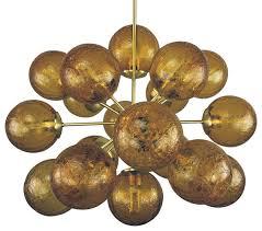 sputnik chandelier brushed brass amber