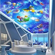 3d Super Mario Cartoon Sky Design Ceiling Wallpaper Kids Wall Mural Beddingandbeyond Club