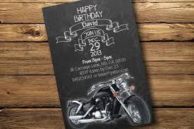 Chalkboard Style Honda Motorcycle Theme Birthday Party Invitation