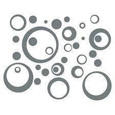 Wall Vinyl Sticker Decal Circles Rings Dots 25 Pc 11in Large Home Decor Storm Gray Walmart Com Walmart Com