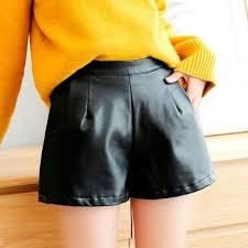 2019 new pu leather shorts women s