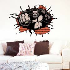 Creativity Broken Wall Orangutans Pvc 3d King Kong Wall Stickers Home Decor For Children Room Diy Removable Wall Decal Mural Wall Stickers Aliexpress