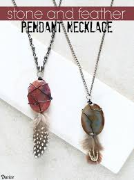 diy feather necklace with stone pendant