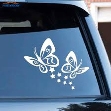 Black Silver Butterfly And Stars Vinyl Car Sticker Decals Lovely Girls Car Decal Removable Murals Y022 Car Stickers Aliexpress