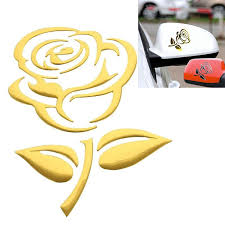 1 Pair 3d Pvc Gold Silver Red Rose Flower Car Sticker Chrome Badge Emblem Car Sticker Decal Car Styling Decoration Wish