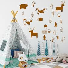 Best Promo 8983 Lovely Tribal Animals Vinyl Forest Woodland Wall Stickers For Kids Rooms Decor Wall Sticker Fox Wall Decal Deer Naklejki Nd Rankingrk Co