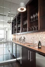 bar transitional with glass shelves