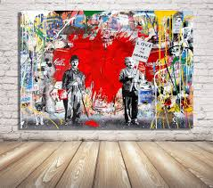 Amazon Com Faicai Art Banksy Graffiti Street Art Pop Art Red Heart Canvas Paintings Wall Art Prints Posters Modern Home Decorations Kids Room Wall Decor Wooden Framed 12 X16 Posters Prints