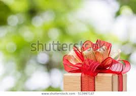 Gift Box Tied Gold Red Ribbon Stock Photo Edit Now 513997147